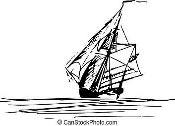 Sailing ship in the ocean in ink line style. Hand sketched...