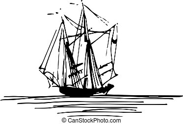 Vector illustration of sailing ship or boat in the sea in...
