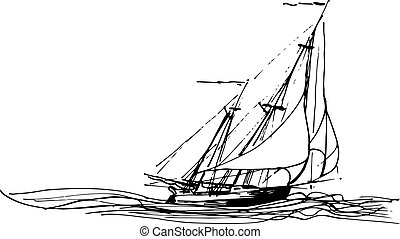 Sailing ship or boat in the ocean in ink line style. Hand...