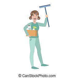 Woman With Box Of Household Chemicals And Squeegee, Cartoon...
