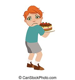 Greedy Boy Not Sharing Cake, Part Of Bad Kids Behavior And...