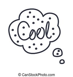 Word Cool, Hand Drawn Comic Speech Bubble Template, Isolated...