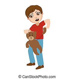Boy Ripping Apart Teddy Bear, Part Of Bad Kids Behavior And...