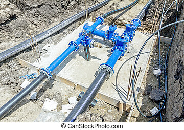 Industrial water pipes with valve, stopcock system - Master...
