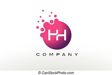 HH Letter Dots Logo Design with Creative Trendy Bubbles. -...