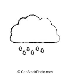 monochrome blurred contour of cloud with drizzle vector...