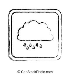 monochrome blurred square frame with cloud with drizzle...