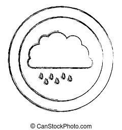monochrome blurred circular frame with cloud with drizzle...