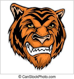 Tiger head mascot - vector. Isolated on white.