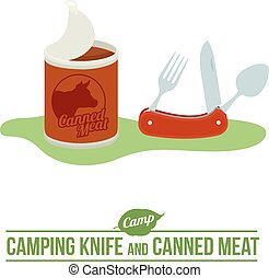 Camping vector flat icon - Camping background with tourist...