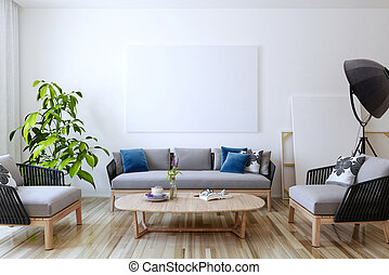 White canvas on the wall in the living room. 3D render.