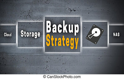 Backup Strategy touchscreen concept background.