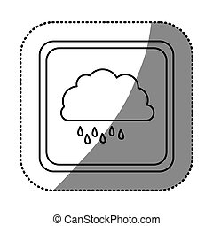 sticker monochrome square frame with cloud with drizzle...