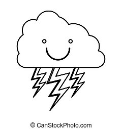 monochrome contour with smiling cloud with lightnings