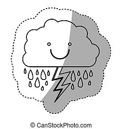 monochrome contour sticker of smiling cloud with rain and lightning