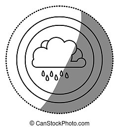sticker monochrome circular frame with cloud with drizzle...