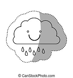 monochrome contour sticker of smiling cloud with drizzle...