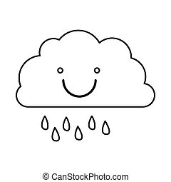 monochrome contour of smiling cloud with drizzle vector...