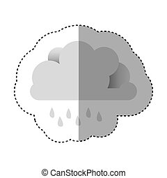 color sticker of cloud with drizzle vector illustration
