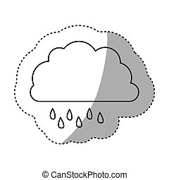 monochrome contour sticker of cloud with drizzle vector...
