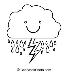 monochrome contour of smiling cloud with rain and lightning