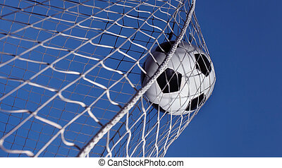 Soccer ball kicked into a goal