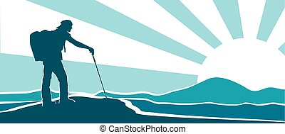Traveler. Sunsrise - Vector silhouette of hiker with...