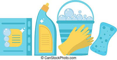 Cleaning supplies, cleaning tools set. Household chemicals....