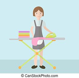 A woman irons clothes. Ironing board and iron. Vector...