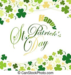 Saint Patricks Day, festive background with flying clover,...