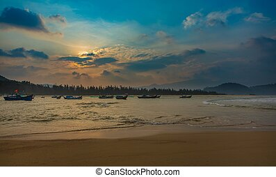 Dramatic Sunset Sky Vietnam - A coastline scene at sunset...