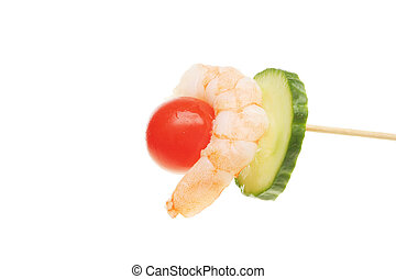 Party nibble, prawn tomato and cucumber on a cocktail stick