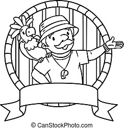 Emblem of funny zoo keeper with parrot - Coloring book of...