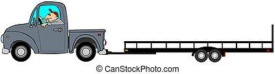 Truck pulling an empty trailer