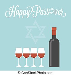 Happy passover poster with wine bottle and four glasses, flat design