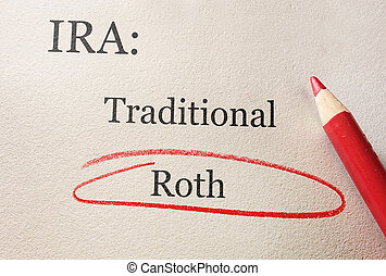 Roth IRA circle - Traditional and Roth IRA circled in red...