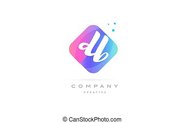 db d b pink blue rhombus abstract hand written company...
