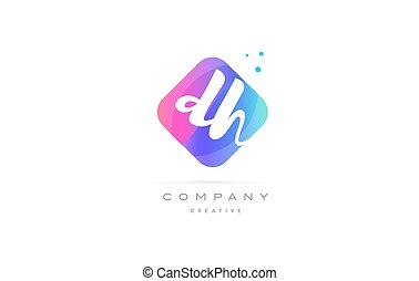 dh d h pink blue rhombus abstract hand written company...