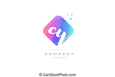 cy c y pink blue rhombus abstract hand written company...