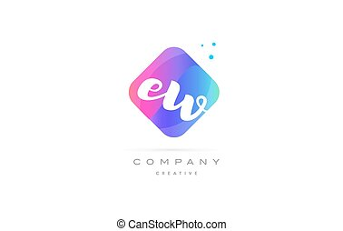 ew e w pink blue rhombus abstract hand written company...