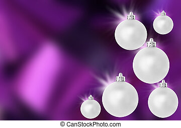 Silver Purple christmas baubles - six shiny christmas...