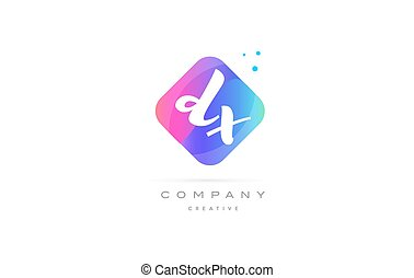 dx d x pink blue rhombus abstract hand written company...