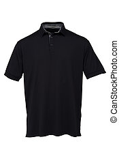 Golf black  tee shirt with black and white Stripes collar for man