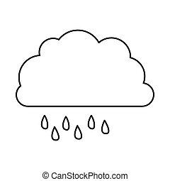monochrome contour of cloud with drizzle vector illustration