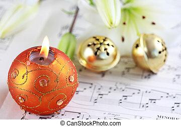 Christmas carol - Christmas still life with jingle bells and...