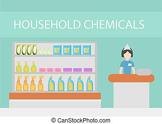 Store household chemicals, cleaning agents, detergents, cosmetics. The department store with household cleaning flat style. Vector illustration