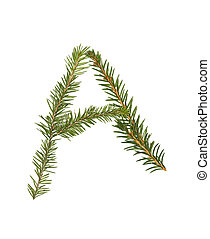 Spruce twigs forming the letter 'A'