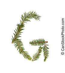 Spruce twigs forming the letter 'G'