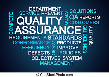 Quality Assurance Word Cloud on Blue Background