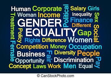 Gender Equality Word Cloud on Blue Background